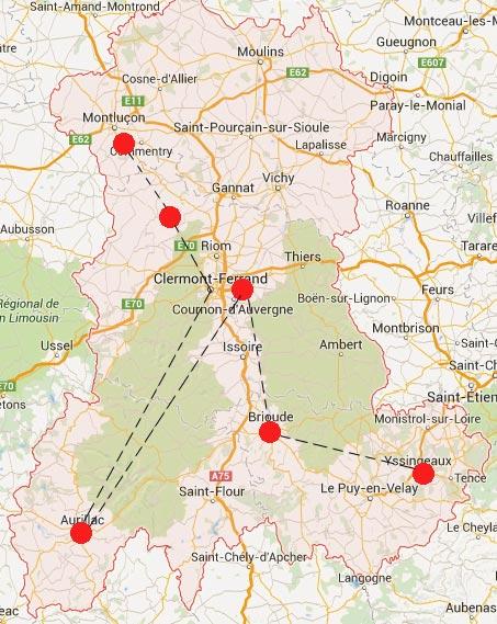 Parcours en Auvergne